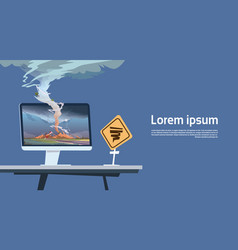 computer monitor with tornado imade and hurricane vector image