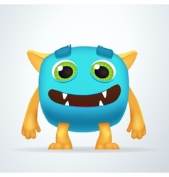 Cute colorful blue Ogre with silly smile and vector image