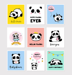 cute panda bear collection of colorful simple vector image