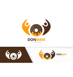 donut and people logo combination doughnut vector image vector image