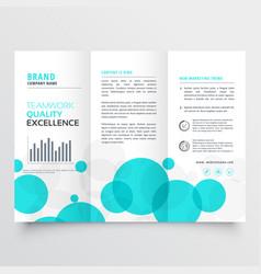 Elegant creative blue circles tri fold brochure vector
