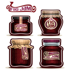 Fig jam in glass jars vector