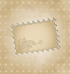 Grunge background with vintage floral label vector image vector image