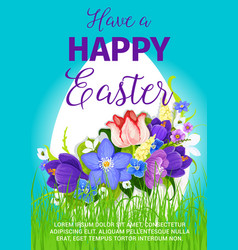Happy easter egg greeting poster design vector