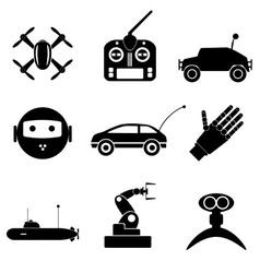 Hi-tech modern technology toys simple black icons vector