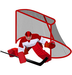 hockey goalkeeper in the game vector image vector image