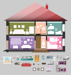 House in cut rooms with furniture vector