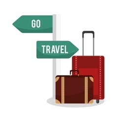 Isolated bag and road sign of travel design vector