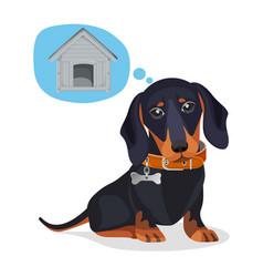 Little sad puppy thinks about big wooden doghouse vector