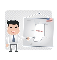 Man with a pointer points to a map of INDIANA vector image