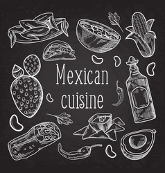 Mexican food hand drawn doodle chalkboard vector