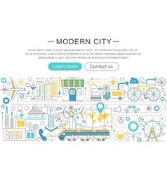 modern line flat design Modern smart city vector image vector image