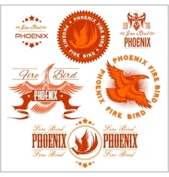 Phoenix - set of fire birds and flames logo vector image vector image