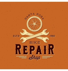 Retro bycicle repair label or logo template vector