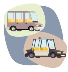 Retro cartoon cars police family travel vector