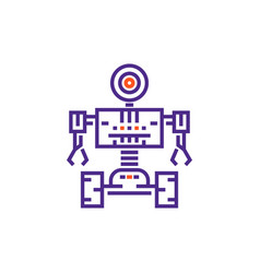 robotics robot in linear style vector image