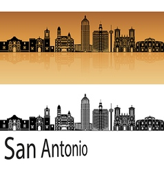 San Antonio skyline in orange vector image vector image
