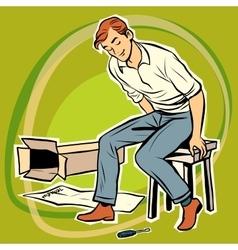 Screwdriver male furniture designer vector image vector image