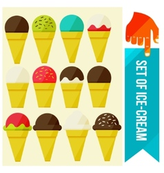 set of Ice cream in waffle cup vector image vector image