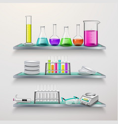 Shelves with lab equipment composition vector