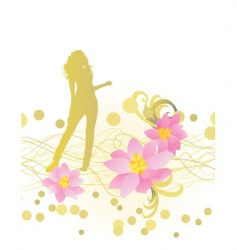 silhouette with flowers vector image