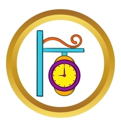 Station clock icon cartoon style vector