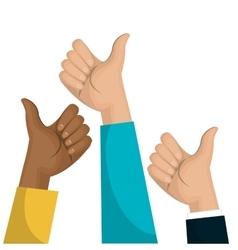 Symbol hand like multicultural team design vector