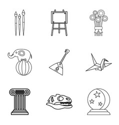 unforgettable performance icons set outline style vector image