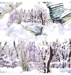 Watercolor winter forest landscape vector