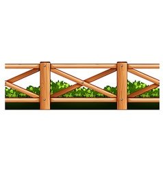 Wooden fence and bush vector