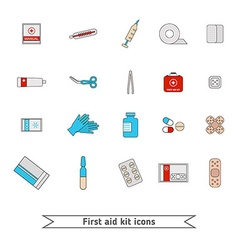 First aid kit icons vector