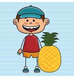 Boy fruit cartoon food vector