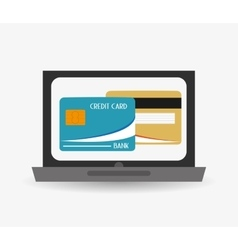 Laptop credit card electronic commerce icon vector