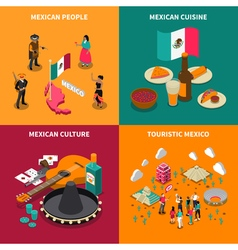 Mexico touristic 4 isometric icons square vector