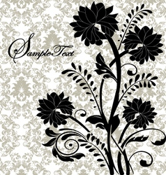 Black flowers on gray damask background vector