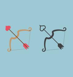 Cupid bow and arrow with heart shape vector