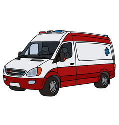 Red and white ambulance vector