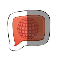 color sticker with globe earth icon in square vector image