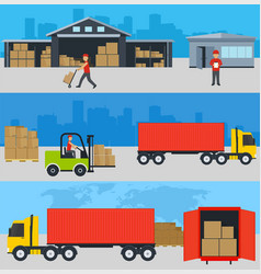 Concept of services in delivery of goods loading vector