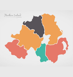 Northern ireland map with states and modern round vector