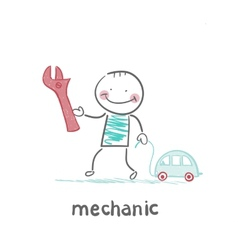 mechanic holding a key and a little car vector image