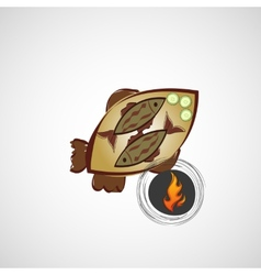 Sketch of fried fish on a plate vector