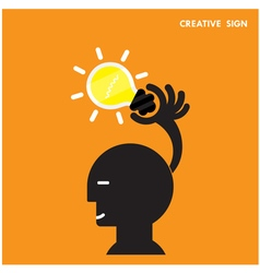 Head and creative bulb light ideaflat design vector