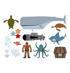 Underwater world set keith and submarine shark and vector