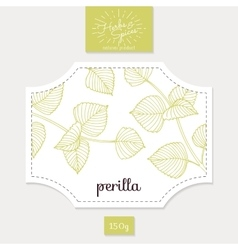 Product sticker with hand drawn perilla leaves vector