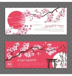 Japan sakura horizontal banners set vector