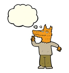 Cartoon happy fox man with thought bubble vector