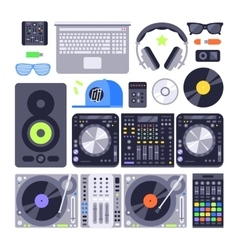 Set various stylized dj music equipment vector