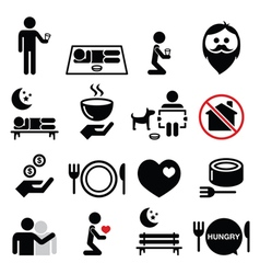Homeless poverty man begging for money icons set vector image