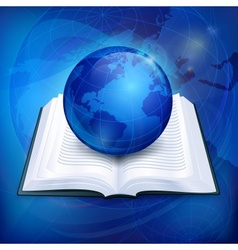 Globe on book vector